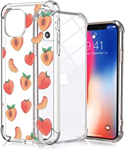 Idocolors Cute iPhone 8 Plus/7 Plus Case,Clear Design Soft Silicone Bumper Anti-Fall Shockproof Four Corner Protective Cover Girly Summer Peach Case for iPhone 7 Plus/8 Plus