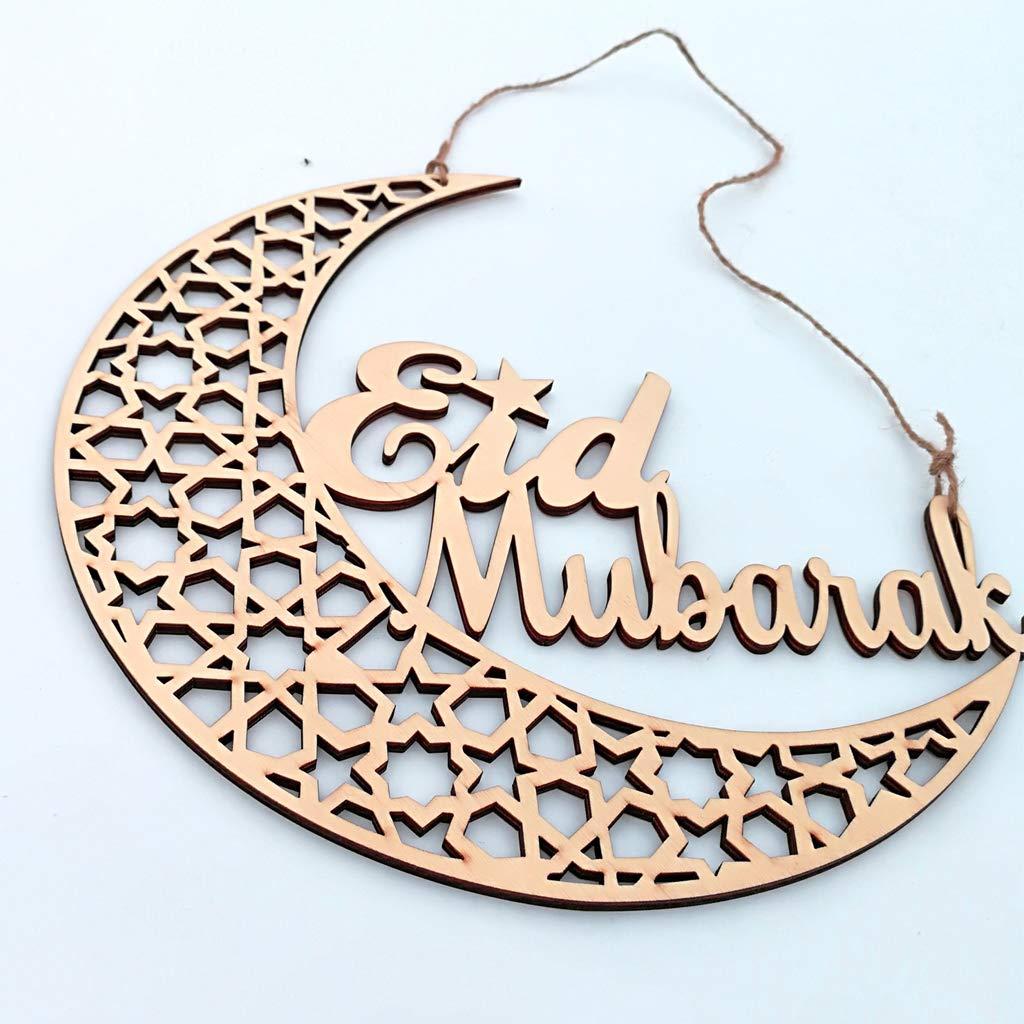 Folewr-8 Eid Mubarak D/écoration DIY Festival du Ramadan D/écorations en Bois pour /à LIslam Musulman Eid Al-Fitr