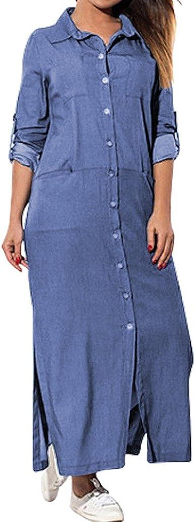 POTO Women's Loose Laple Pockets Buttons Swing T-Shirt Dress Long Sleeve Denim Solid Dresses Plus Size