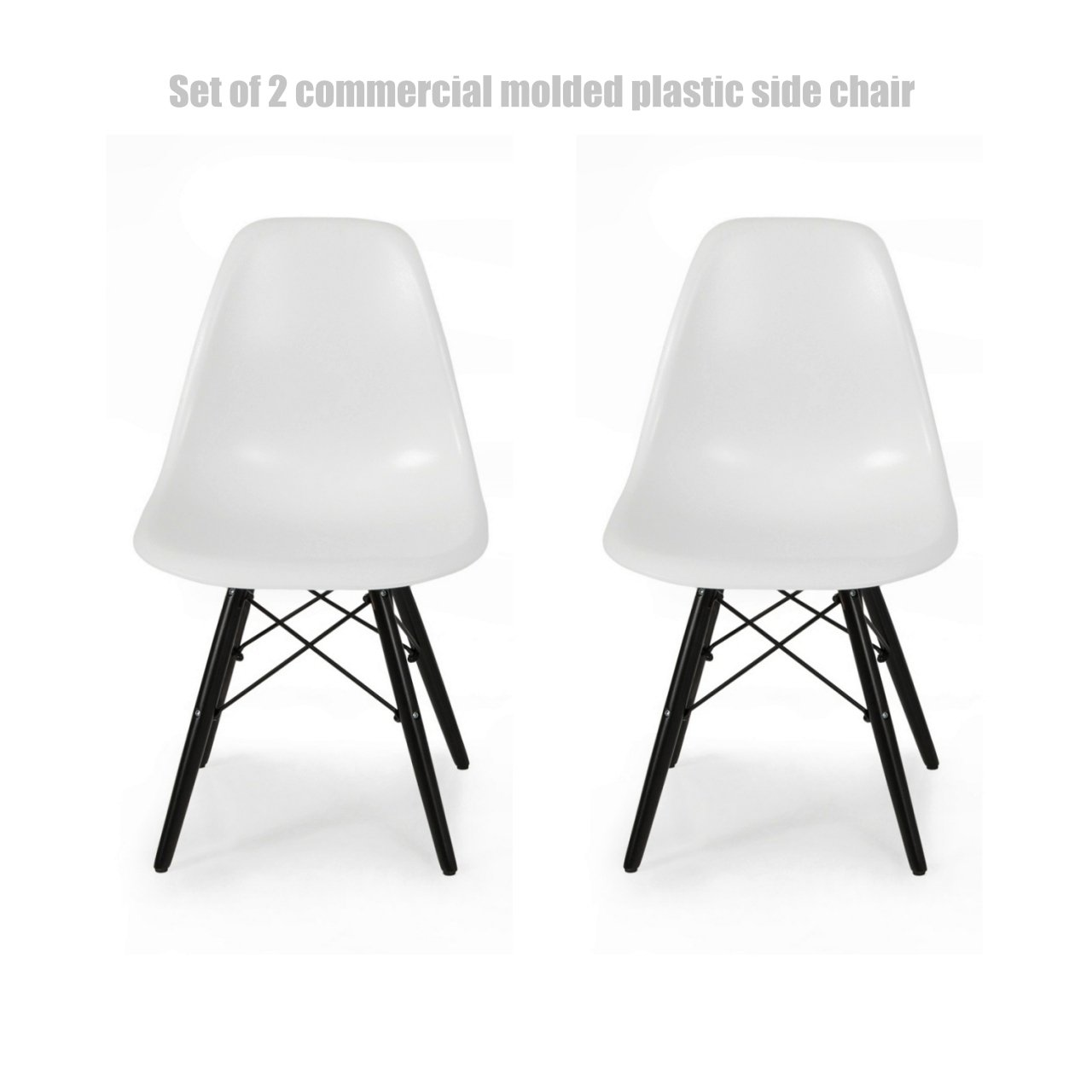 Classic Vintage Style Dining Chair Molded Plastic Flexible Backs Support Deep Seat Pockets Straight Wooden Dowel Legs Innovative Side Chair - Set of 2 White/Black Wood Base #1444