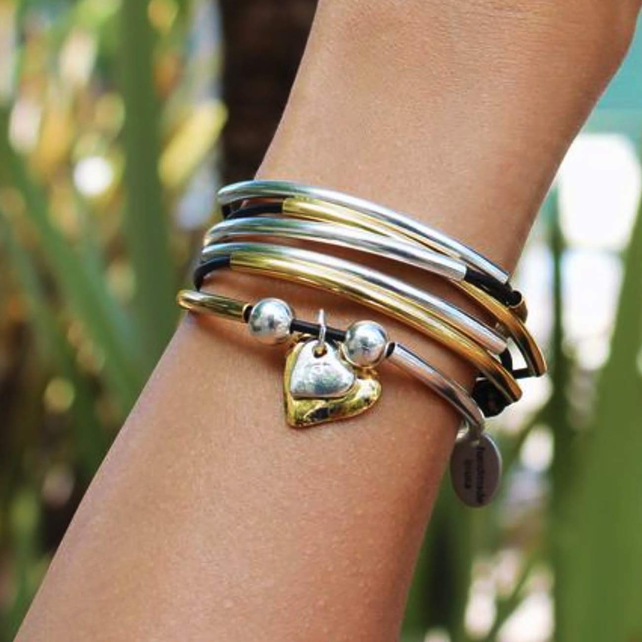 Lizzy James Girlfriend Silver and Gold Wrap Charm Bracelet Necklace w 2 Heart Charms in Natural Black Leather Lizzy James Jewelry