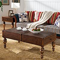 Leick 11304 Leather Look Two Drawer Trunk Coffee Table, Cognac