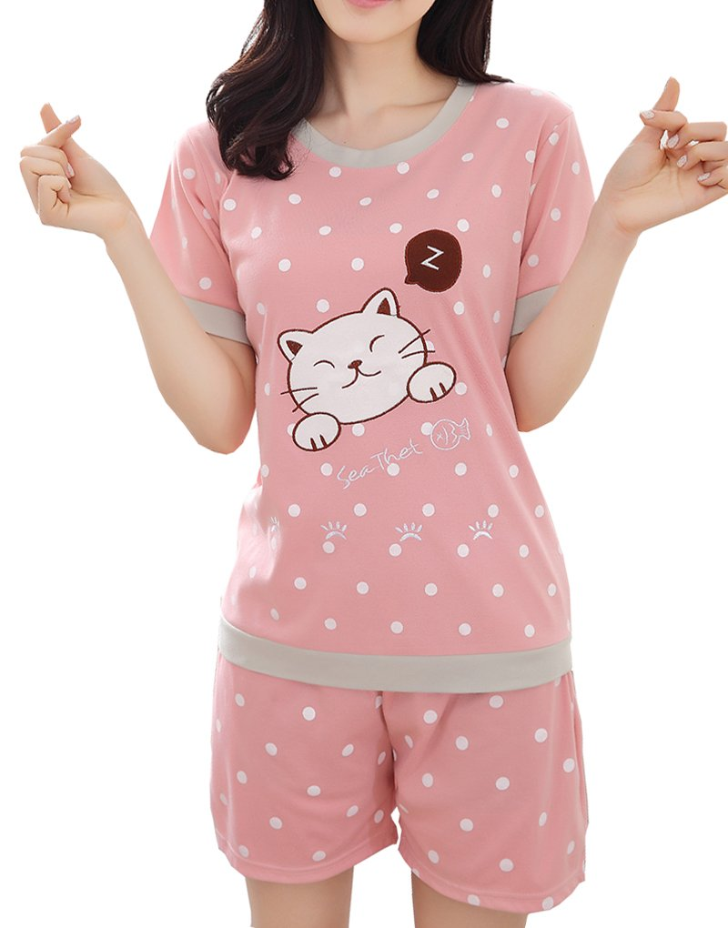 Vopmocld Big Girls' Shorts Sleeve Cute Cat Pajama Polka Dot Summer Sleepwear