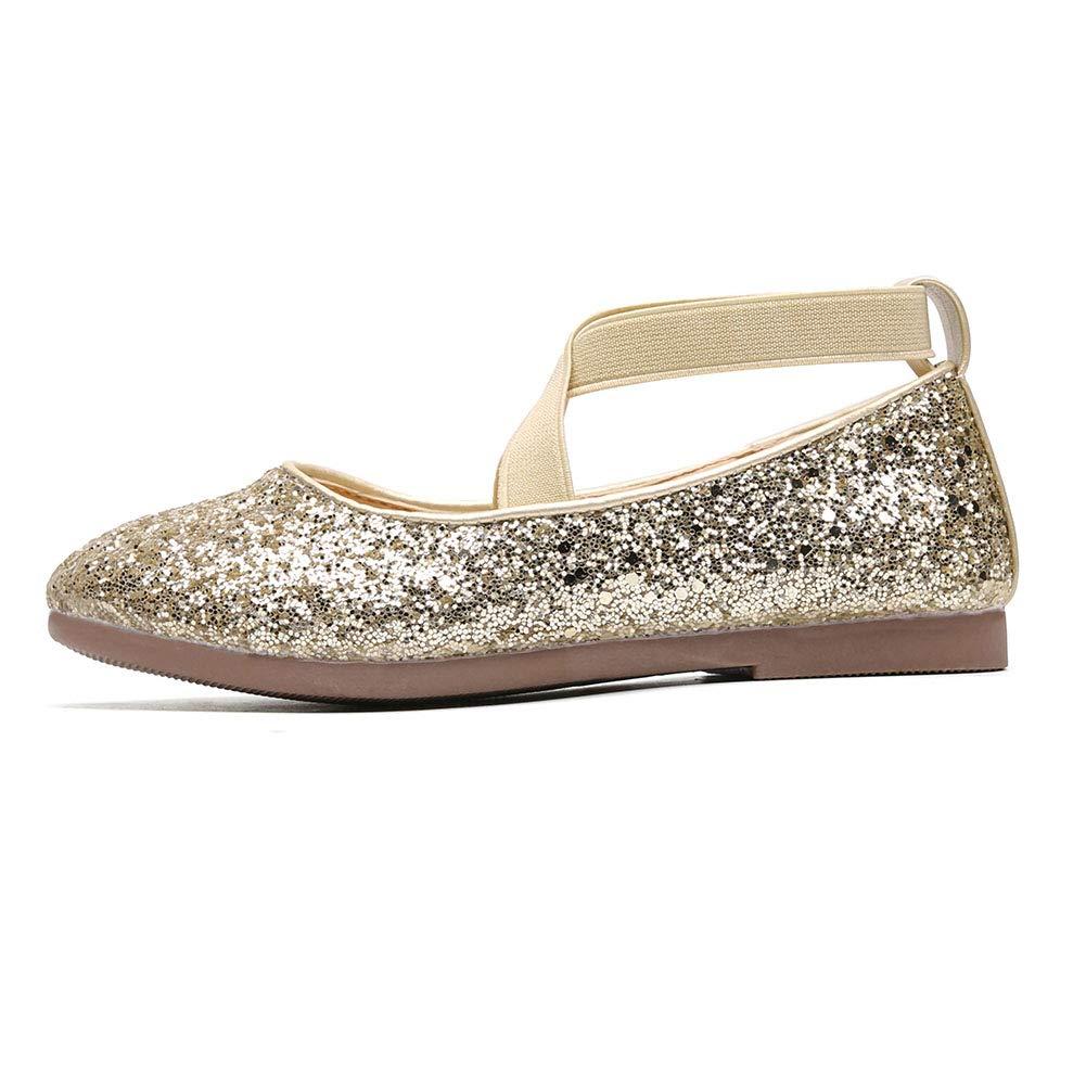 Chiximaxu Little Girls Slip on Ballerina Flats Shinning Princess Party Wedding Dress Shoes