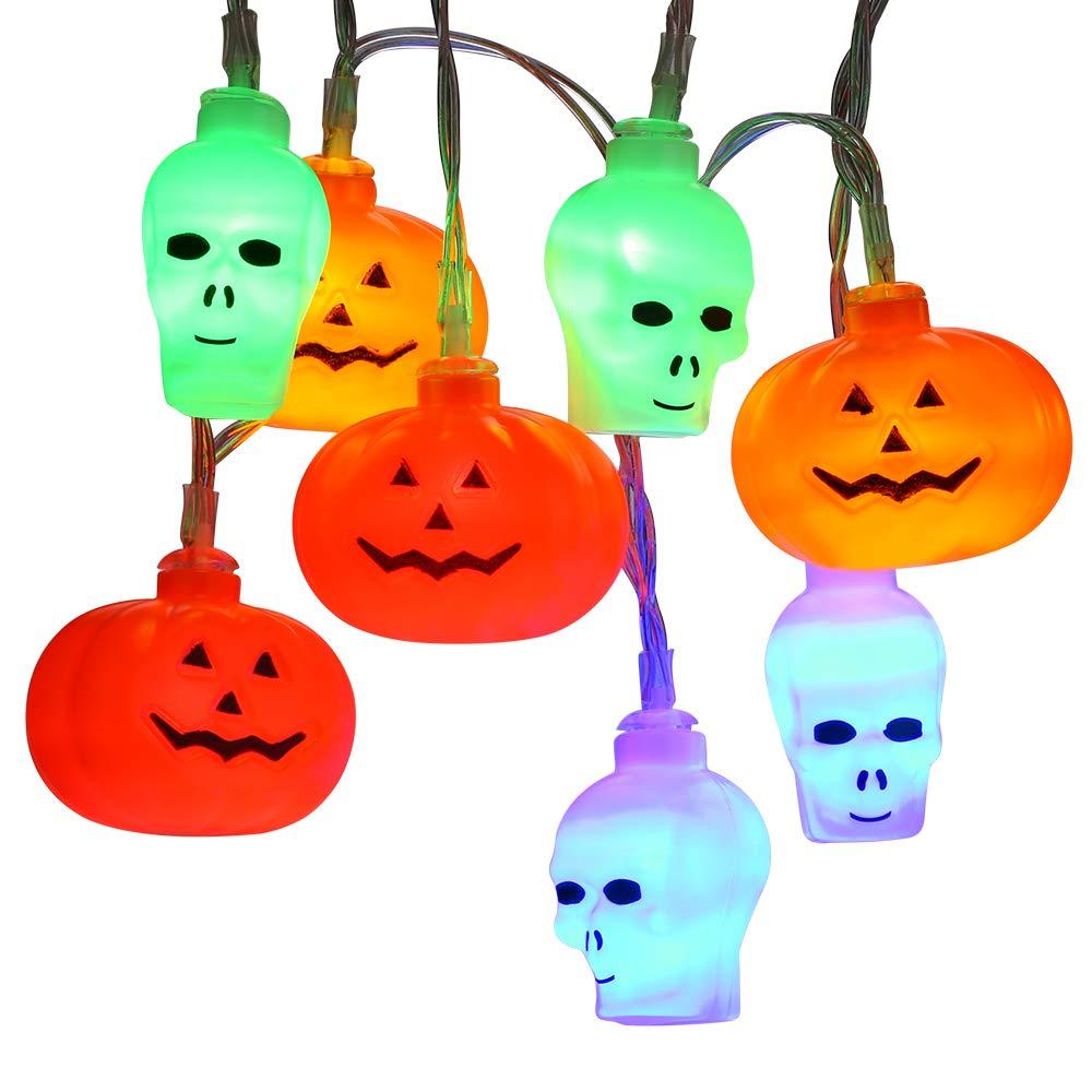 Brizled Skull Pumpkin Halloween Lights, 32 LED 13.12ft Pumpkin Lights Skull Lights String, Battery Jack-O-Lantern Halloween String Lights, Indoor & Outdoor Party and Halloween Decorations, Multicolor