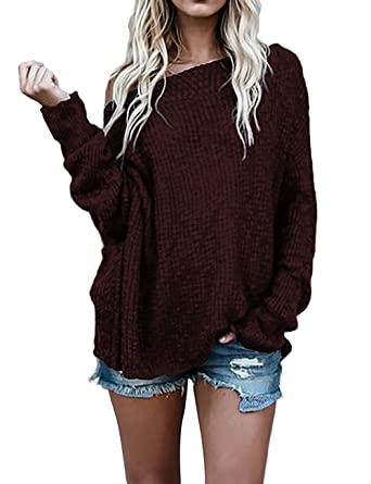 385dfc3feb06a5 M Women s Boat Neck Off Shoulder Batwing Sleeve Loose Oversized Pullover  Sweater Knit Jumper