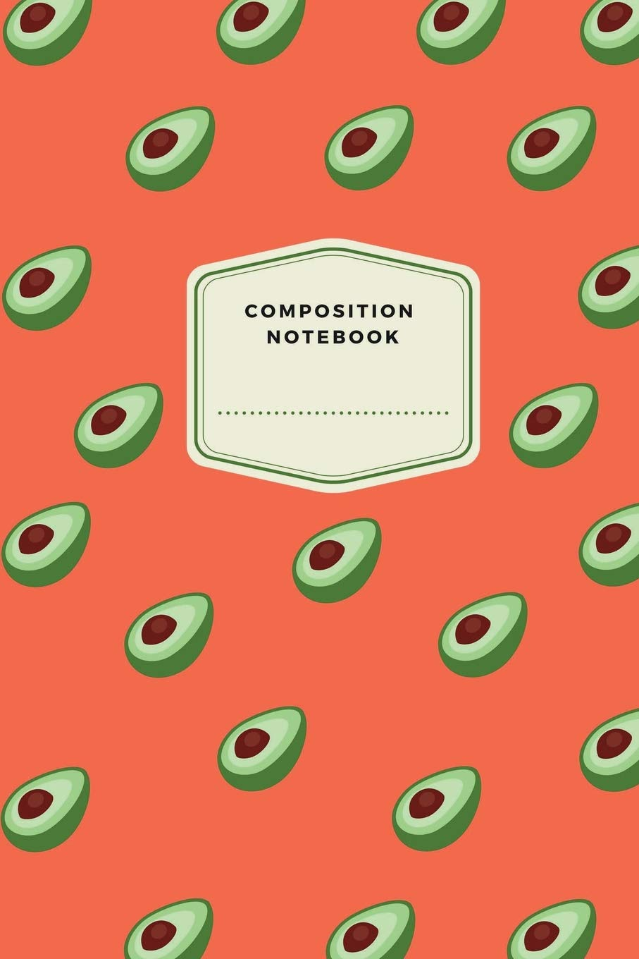 Composition Notebook  Cute Designed Avocado Journal Notebook For Girls 120 Pages 6' X 9'  15.24 X 22.86 Cm