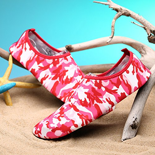 de piel rosa Anti Skid transpirables calzado 3 roja la esquí Ultra Lucdespo cuidado de light zapatos zapatos acuático playa natación SK pg1q1x6
