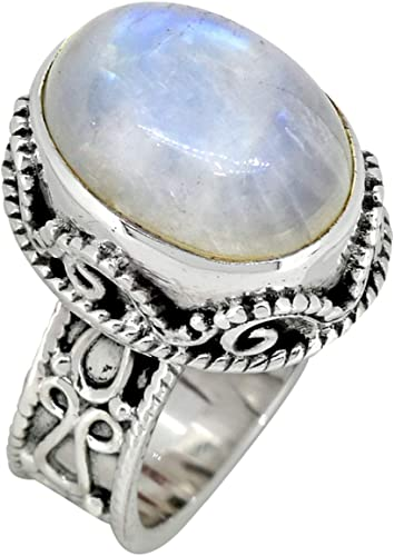 YoTreasure Rainbow Moonstone Solid 925 Sterling Silver Ring