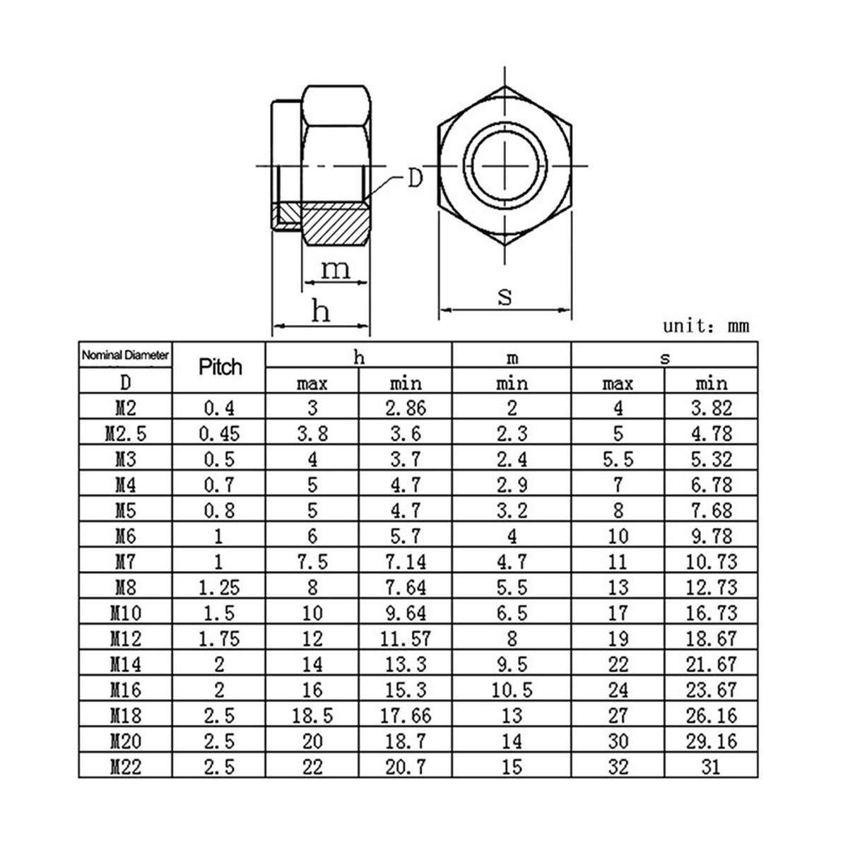 M5 300Pcs Luchang Nylon Lock Nut 304 Stainless Steel Hex Hexagon Locknut M3 M4 M5 M6 M8 M10 M12 M14 Nylon Nut