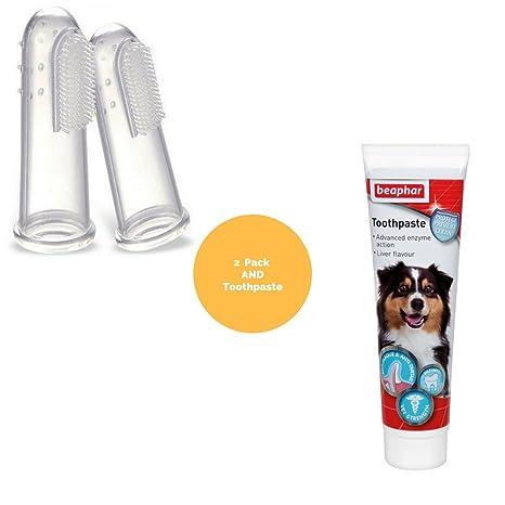 Cepillo de dientes y pasta de dientes para perros, con 2 cepillos de dientes para