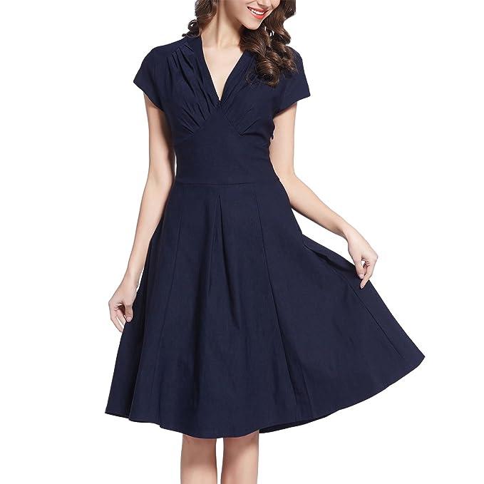 Sweetmeet Mujer 1940s Vintage Rockabilly Acampanado Vestido De Novia (Swing Skaters Azul Azul Marino Small
