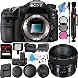 Sony Alpha a77 II DSLR Camera (Body Only) ILCA77M2 + Sony 50mm f/2.8 Macro Lens SAL50M28 + VG-C77AM Vertical Battery Grip + NP-FM500H Lithium Ion Battery + 64GB SDXC Card + Fibercloth Bundle