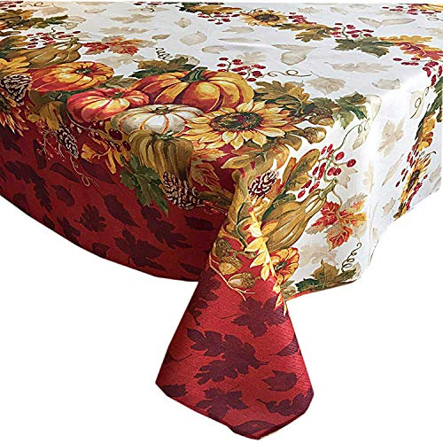 Newbridge Autumns Bounty Bordered Thanksgiving and Fall Season Fabric Tablecloth, Bountiful Farm Pumpkin and Gourd Harvest Easy Care Tablecloth, 60 Inch x 120 Inch Oblong/Rectangle