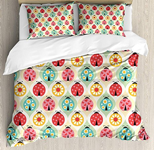 (Full Bedding Sets for Boys, Kids Duvet Cover Set, Ladybugs Cartoon Pattern with Retro Polka Dots Daisy Blossoms and Little Hearts Love, Include 1 Flat Sheet 1 Duvet Cover and 2 Pillow Cases)