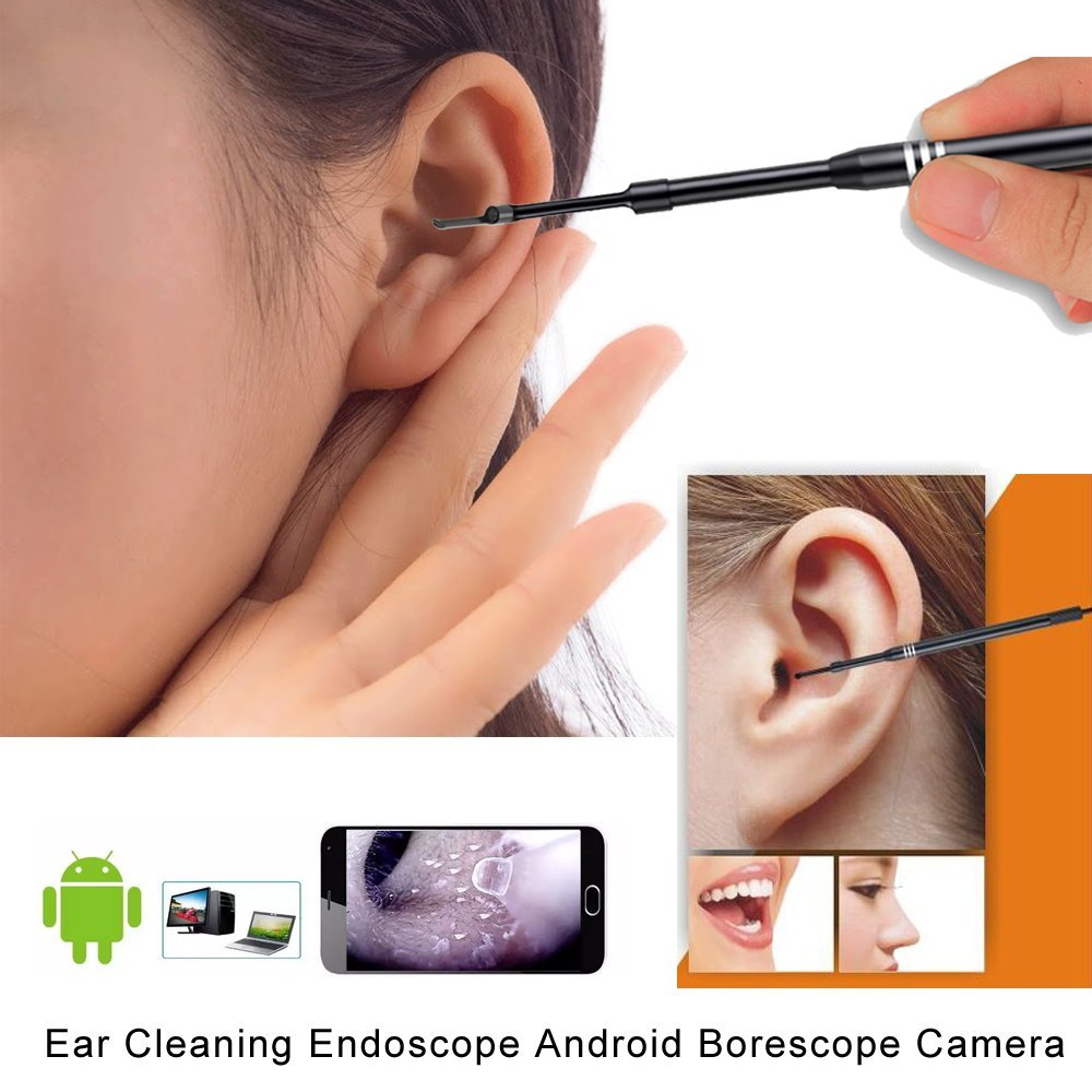 Ear Otoscope Xpiwhtow Waterproof Camera with 6 Adjustable LED Light Ear Pick Endoscope Cleaning Tool For OTG Android Micro USB PC