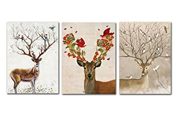 fashion 3 pieces nordic simple elk and bird canvas painting unframed deer oil picture christmas
