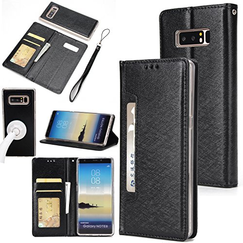Price comparison product image Gostyle Samsung Galaxy Note 8 Case, 2 in 1 Detachable Flip Wallet Case with Credit Card Slots, Work with Magnetic Car Mount, PU Leather Protective Cover for Samsung Galaxy Note 8, Black
