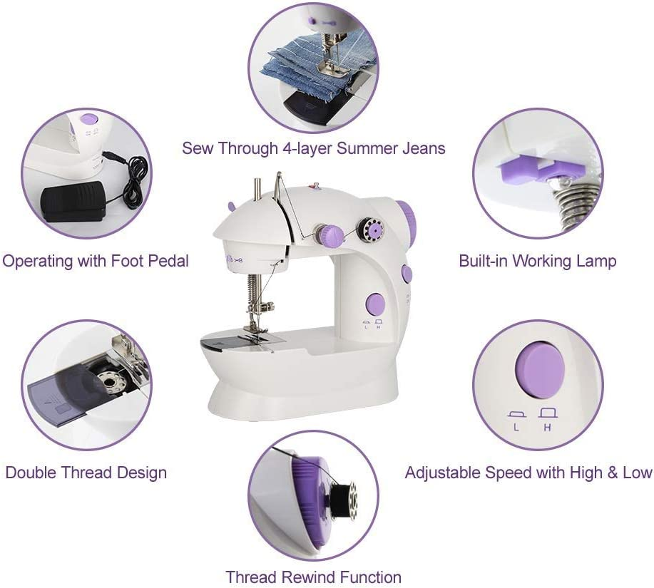 Electric Sewing Machine Portable Household Sewing Machine Beginner Tailors Free-Arm Crafting Mending Machine White