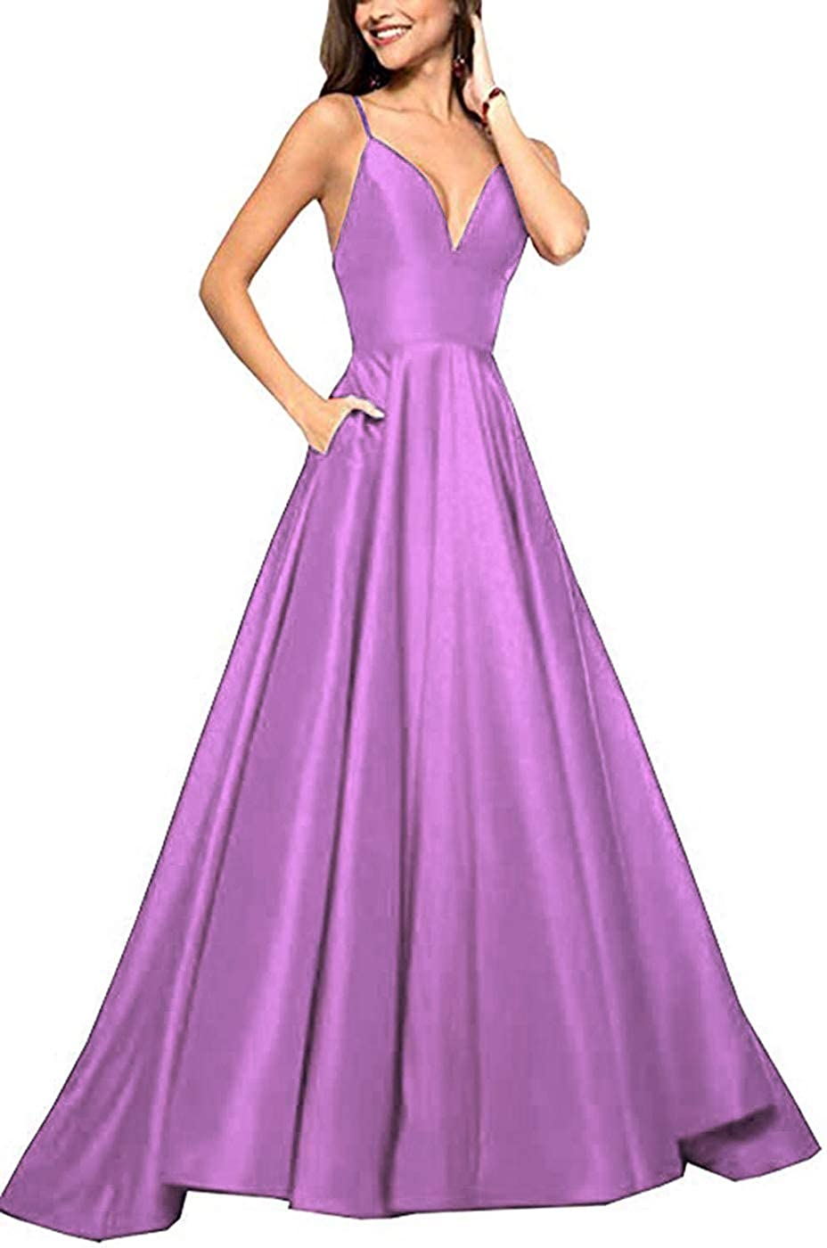 Begonia Tmaoomo Long Prom Dresses for Women 2019 Spaghetti Strap Evening Ball Gowns with Pockets