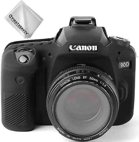 Negro Cuerpo Completo Caucho de TPU Funda Estuche Silicona para cámara para Canon EOS 90D: Amazon.es: Electrónica