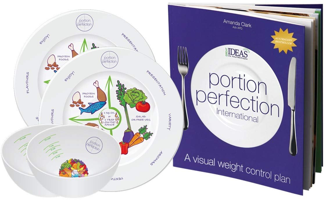 Portion Control Weight Loss Plan with 2 Melamine Portion Plates & Measuring Bowls Plus Portion Perfection International Book for Easy Weight Management - Weightloss for Women, Men and Children
