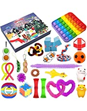 2021 Christmas Advent Calendar Toy Set, 24Pcs Holiday Christmas Countdown Calendar Sensory Fidget Toys Pack, Simple Dimple Pop it Fidget Toys Blind Box, Surprise Xmas Party Favor Gifts Boxes for Kids and Adult