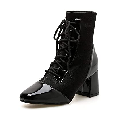 ccf5aa878cac3 Amazon.com | Meet- fashion Silvery PU Leather Boots for Women Lace ...