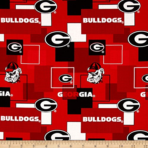 Collegiate Cotton Broadcloth University Of Georgia Block Print Red Fabric By The Yard