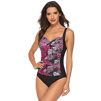 10adaecca6e Amazon.com: Sexy Backless Swimwear for Women,Jchen Women One Piece  Swimsuits Leaves Print Splice Ruched Beach Bathing Suit: Clothing