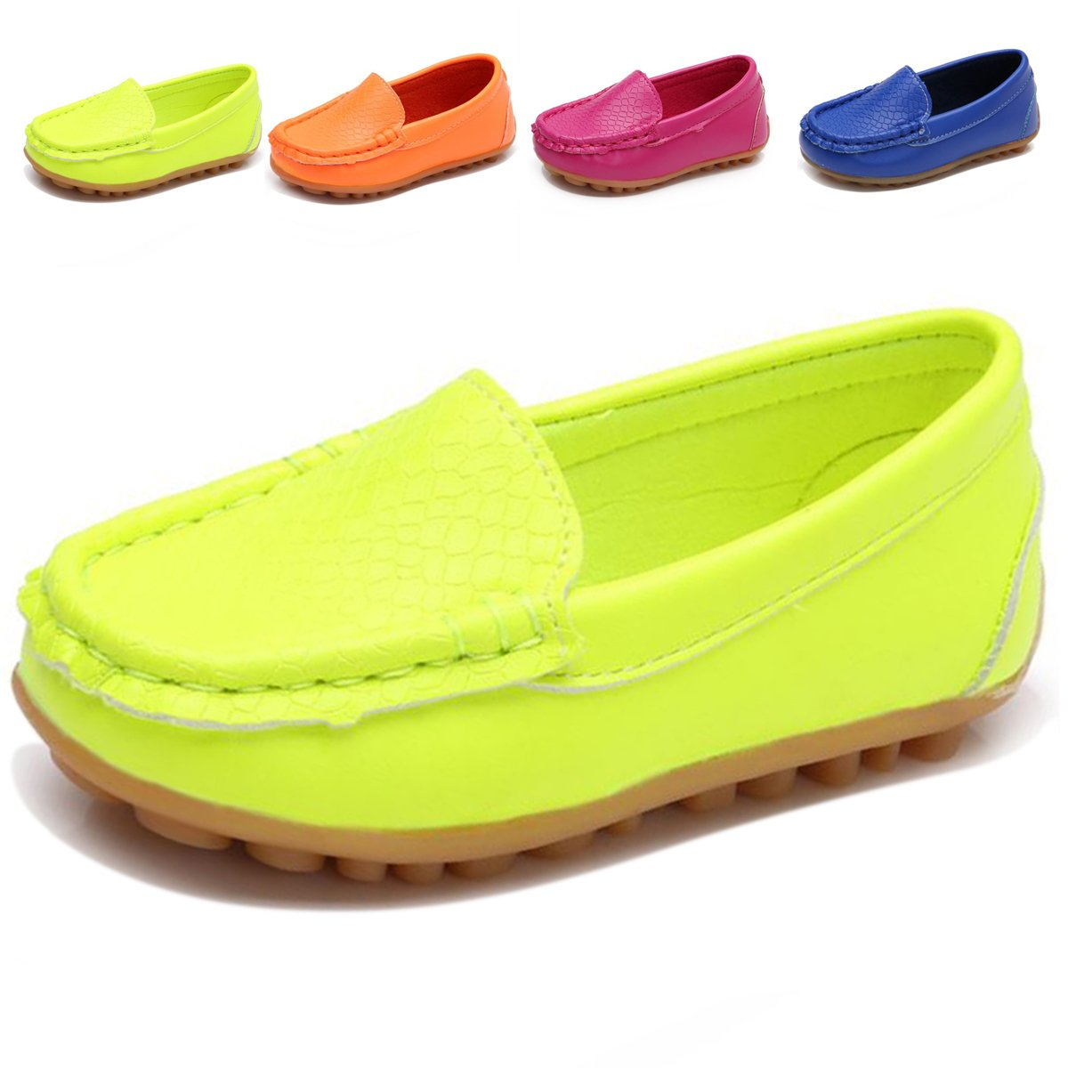L-RUN Boys Girls Leather Loafer Shoes Dress Boat Shoes Green 10 M US Toddler