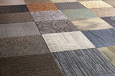 Nance Industries LK-K925-T16C Peel and Stick Assorted Carpet Tile, 2' x 2'