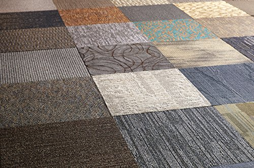 Nance Industries Peel and Stick 200 Square Feet Assorted Commercial Carpet Tile, 72 Tile