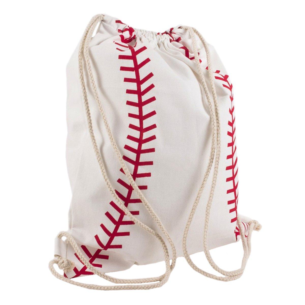 Baseball White Red 14 x 18 Inch Kids Drawstring Backpack