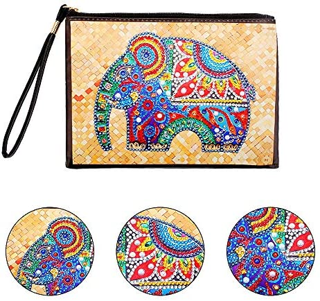 5D DIY Diamond Dot Bag Animal Pattern Makeup Storage Handbag 2 Pack Elephant PU Leather Handmade Purse with Painting Stickers Kits for Kids and Adult Beginners