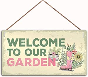 """MAIYUAN Wood Welcome to Our Garden Novelty Shabby Chic Garden Shed Summer House Sign ,Garden Decor Sign,Wall Door Sign,10""""X5""""inches(WED140)"""