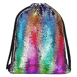 Sequin Reversible Drawstring Backpacks for Girls