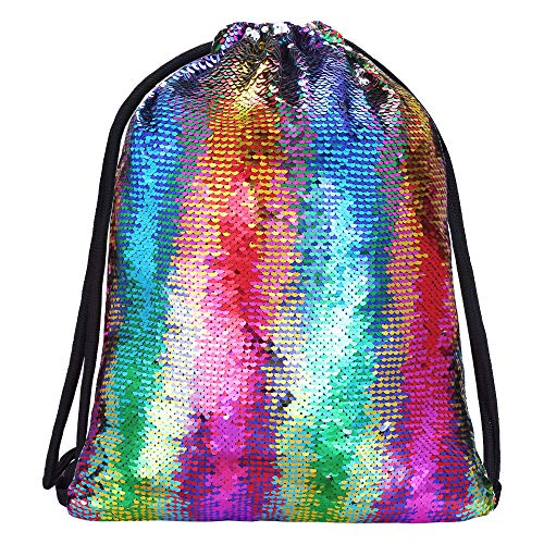 Alritz Mermaid Sequin Drawstring Bag, Reversible Sequins Backpack Glittering Outdoor Shoulder Bags for Girls Boys Women (Colorful)