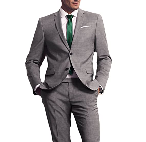 Botong Grey Wedding Suits 2 Pieces Business Men Suits Groom ...