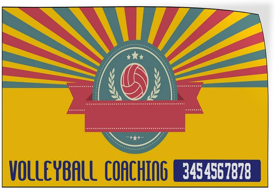Custom Door Decals Vinyl Stickers Multiple Sizes Volleyball Coaching Phone Number Business Volleyball Coaching Outdoor Luggage /& Bumper Stickers for Cars Yellow 24X18Inches Set of 5