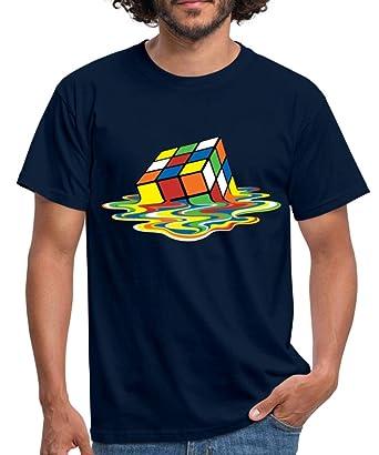 c043da3e3c954 Spreadshirt Rubik s Cube en Train De Fondre T-Shirt Homme  Amazon.fr   Vêtements et accessoires