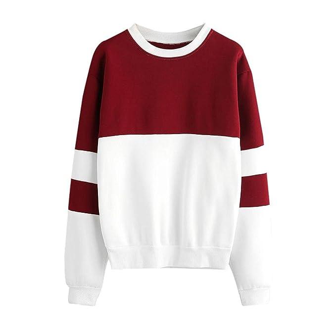 ... Especial Manga Larga Splice Color De Contraste Sudaderas Shirt Party Casual Shirt Sudaderas Streetwear Sport Shirt Estilo: Amazon.es: Ropa y accesorios