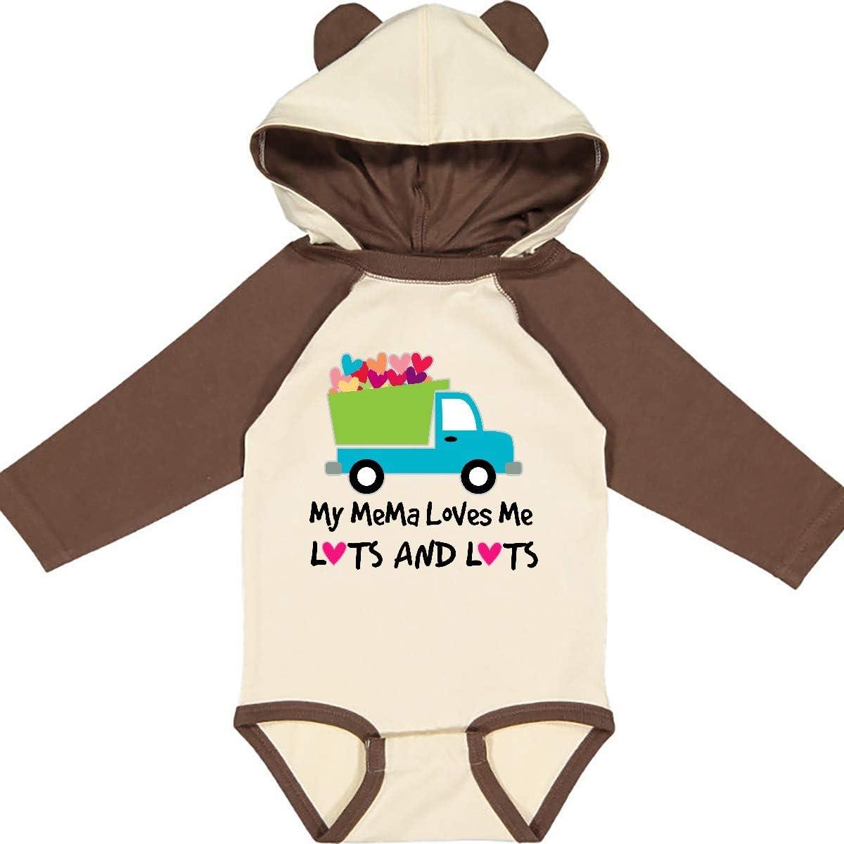 inktastic My Mema Loves Me Valentine Truck Grandson Long Sleeve Creeper