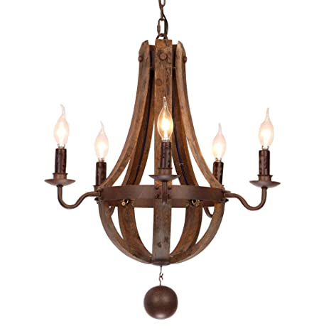 Rustic wine barrel stave reclaimed wood rust metal chandelier with rustic wine barrel stave reclaimed wood rust metal chandelier with candle light aloadofball Gallery