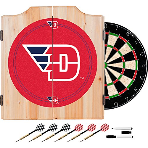 University of Dayton Deluxe Solid Wood Cabinet Complete Dart Set - Officially Licensed! by TMG