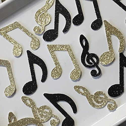Music Note Confetti - Black and Gold Glitter - Large 2