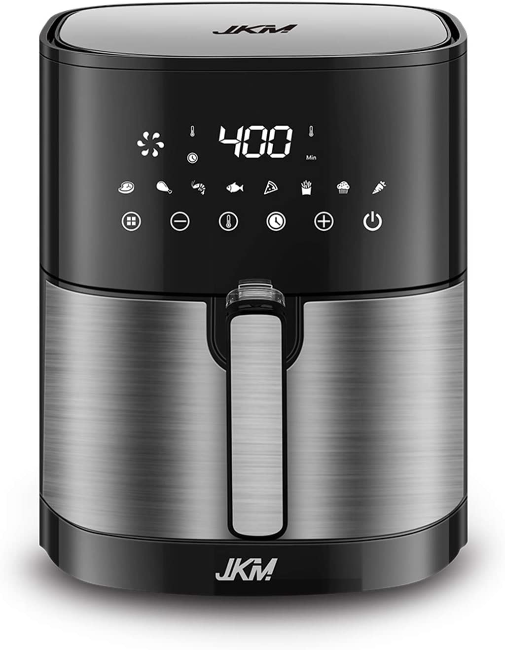 JKM XL 5.3 Quart Air Fryer Oven Stainless Steel , 8 Cooking Preset, Multifunction LED Digital Display,15 E-recipes, No Oily Smoke Frying Cooking, Auto Shut Off, 1700W