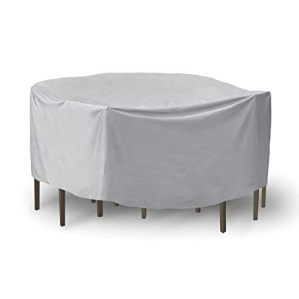 Protective Covers Weatherproof Patio Table and Chair Set Cover, 48 inch x 54 inch, Round Table, Gray