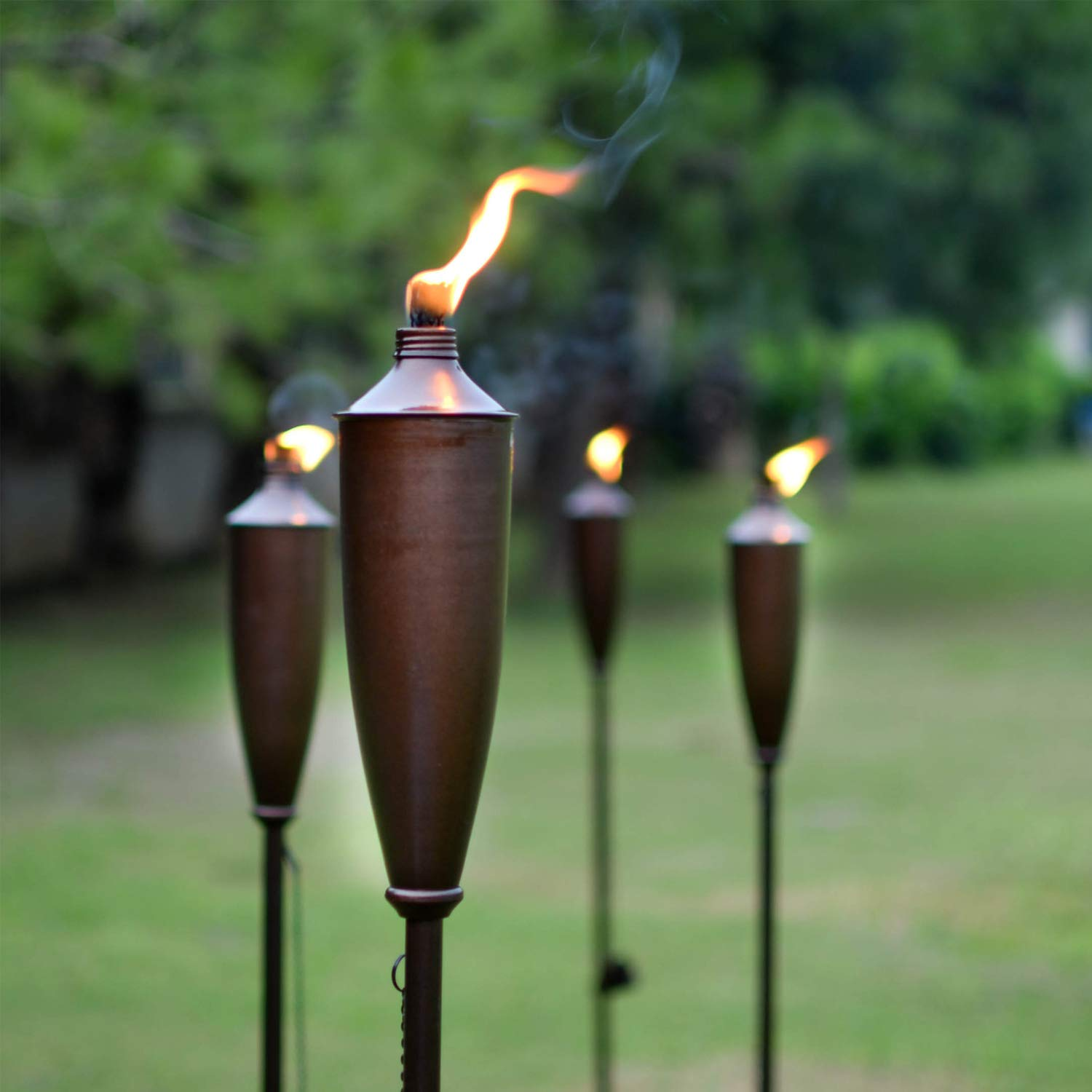 Deco Home Tikki Torch Set of 4 Tikki Torch - 60inch Citronella Garden Outdoor/Patio Flame Metal Torch - Brown by Deco Home