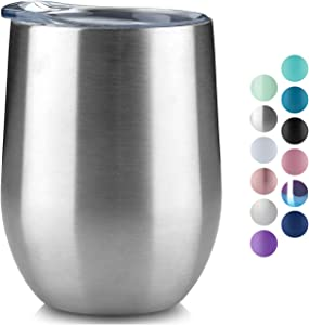 MUCHENGHY 12 oz Stemless Wine Glass Tumbler with Lid Stainless Steel Double Wall Vacuum Insulated Travel Cup (Silver, 1)
